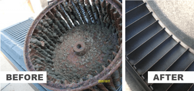 AC Maintenance before and after photo